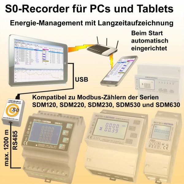 S0-Recorder für Stromzähler RS485-USB Ausführung