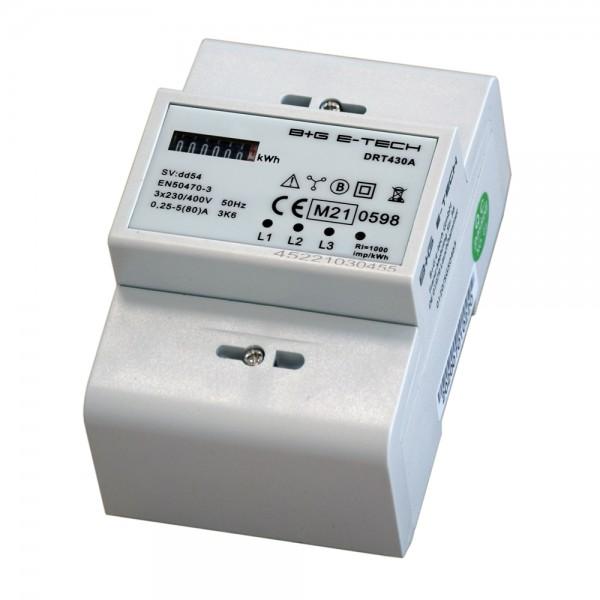 DRT430A - 3-Phasen digitaler Drehstromzähler mit mechanischem Rollenzählwerk, MID geeicht