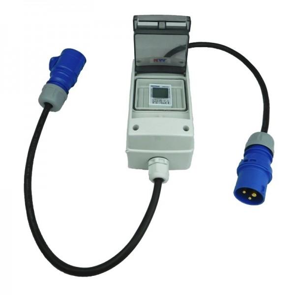 16A CEE Campingzähler - mobiler digitaler Stromzähler - geeicht - (mit Reset) IP44