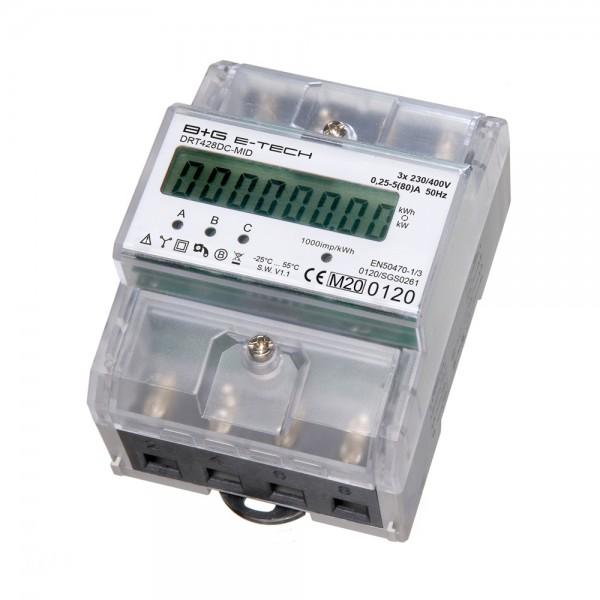 DRT428DC-MID 3-Phasen Drehstromzähler für DIN Hutschiene mit S0 , MID zertifiziert / geeicht